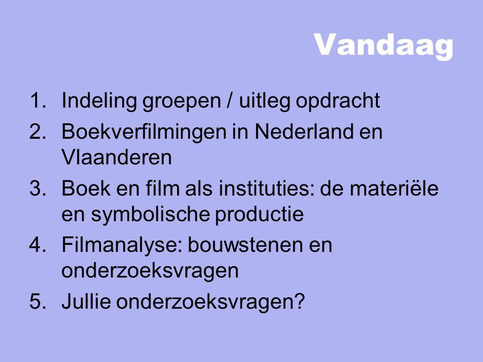 Vandaag 1.Indeling groepen / uitleg opdracht 2.Boekverfilmingen in Nederland en Vlaanderen 3.Boek en film als instituties: de materiële en symbolische productie 4.Filmanalyse: bouwstenen en onderzoeksvragen 5.Jullie onderzoeksvragen