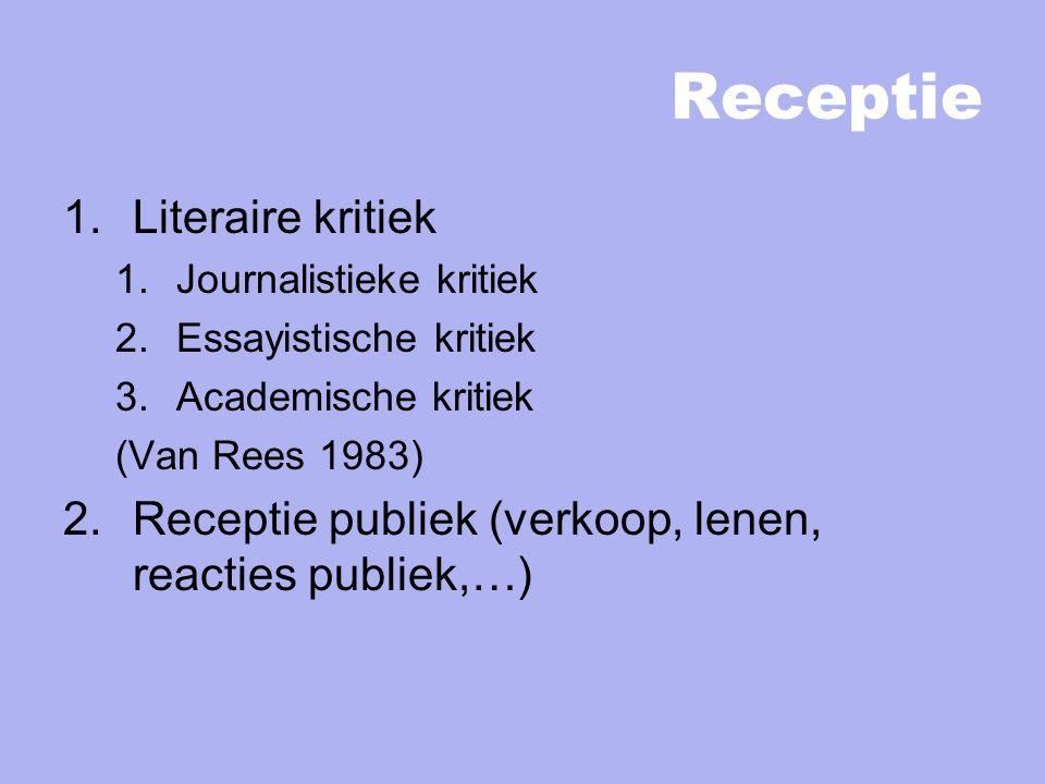 Receptie 1.Literaire kritiek 1.Journalistieke kritiek 2.Essayistische kritiek 3.Academische kritiek (Van Rees 1983) 2.Receptie publiek (verkoop, lenen, reacties publiek,…)