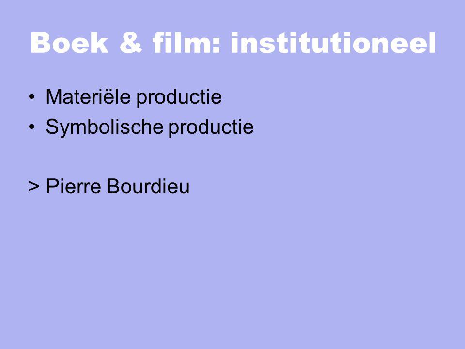 Boek & film: institutioneel Materiële productie Symbolische productie > Pierre Bourdieu