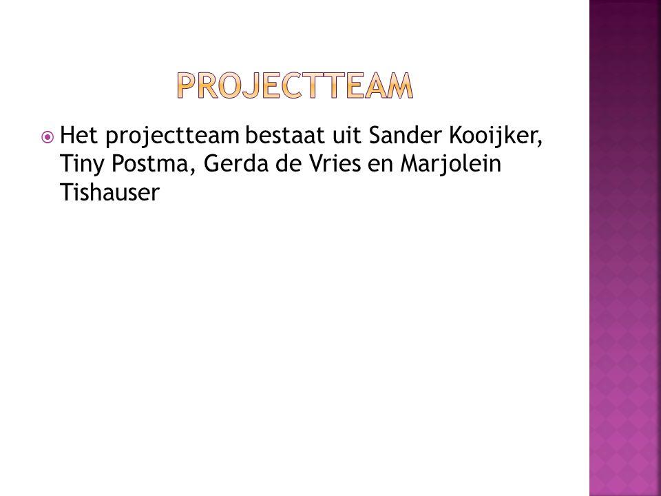  Het projectteam bestaat uit Sander Kooijker, Tiny Postma, Gerda de Vries en Marjolein Tishauser