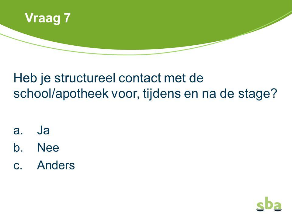 Vraag 7 Heb je structureel contact met de school/apotheek voor, tijdens en na de stage? a.Ja b.Nee c.Anders