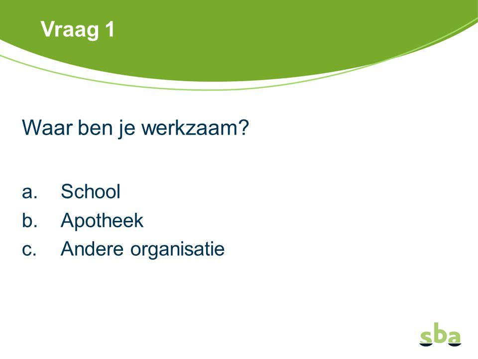 Vraag 1 Waar ben je werkzaam? a.School b.Apotheek c.Andere organisatie
