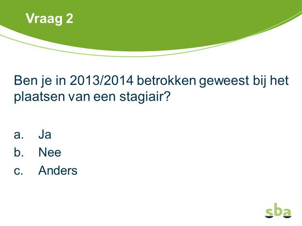 Vraag 2 Ben je in 2013/2014 betrokken geweest bij het plaatsen van een stagiair? a.Ja b.Nee c.Anders