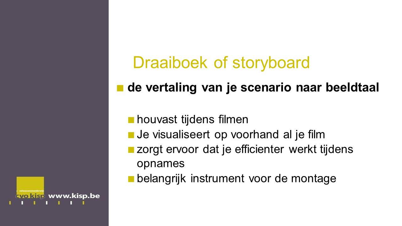 Draaiboek of storyboard de vertaling van je scenario naar beeldtaal houvast tijdens filmen Je visualiseert op voorhand al je film zorgt ervoor dat je efficienter werkt tijdens opnames belangrijk instrument voor de montage