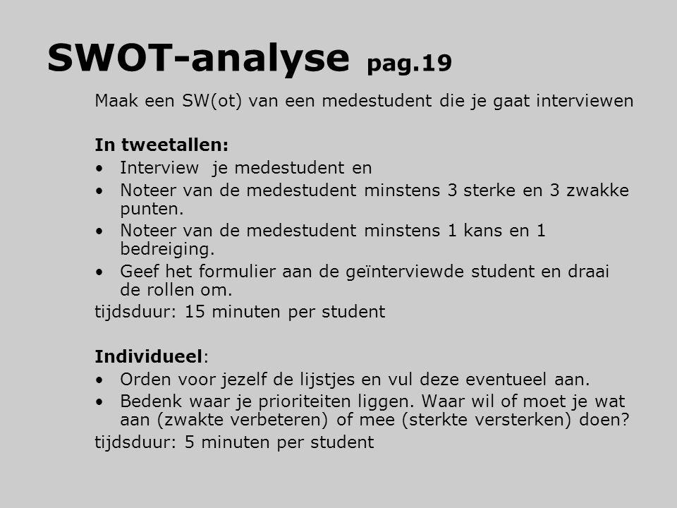 SWOT-analyse pag.19 Maak een SW(ot) van een medestudent die je gaat interviewen In tweetallen: Interview je medestudent en Noteer van de medestudent m