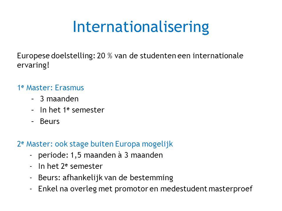 Internationalisering Europese doelstelling: 20 % van de studenten een internationale ervaring! 1 e Master: Erasmus –3 maanden –In het 1 e semester –Be