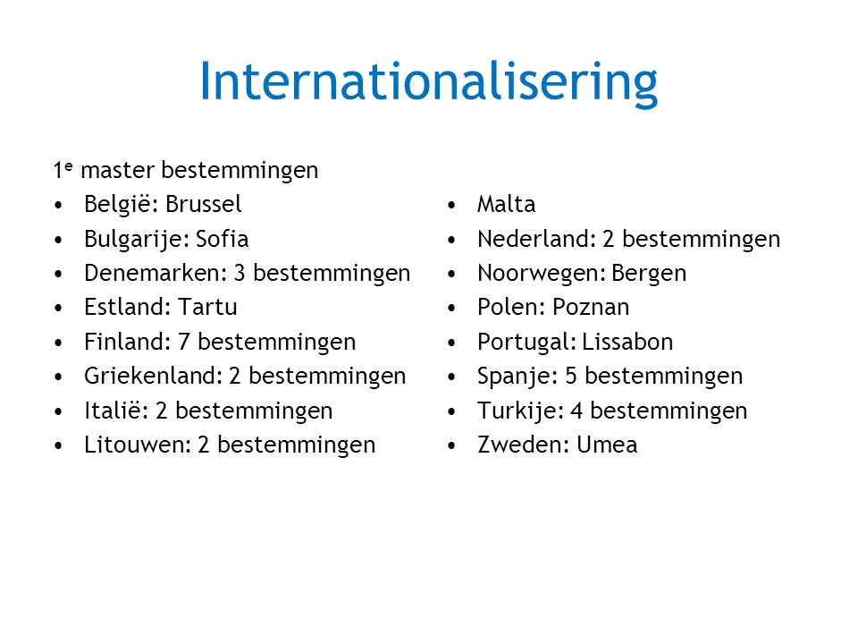 Internationalisering 1 e master bestemmingen België: Brussel Bulgarije: Sofia Denemarken: 3 bestemmingen Estland: Tartu Finland: 7 bestemmingen Griekenland: 2 bestemmingen Italië: 2 bestemmingen Litouwen: 2 bestemmingen Malta Nederland: 2 bestemmingen Noorwegen: Bergen Polen: Poznan Portugal: Lissabon Spanje: 5 bestemmingen Turkije: 4 bestemmingen Zweden: Umea