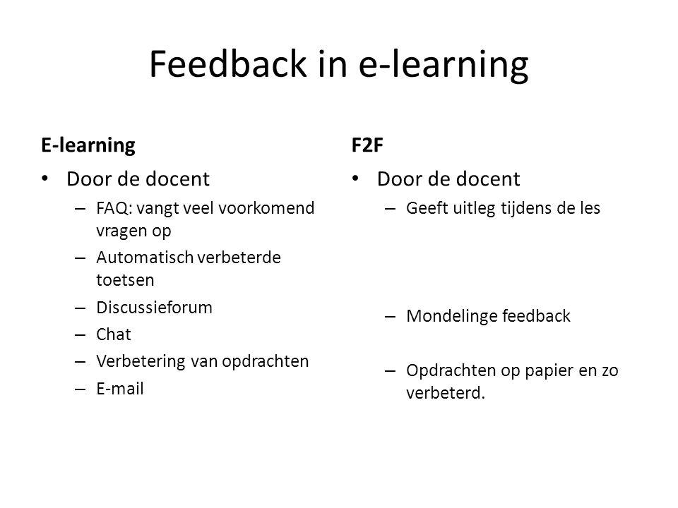 Feedback in e-learning E-learning Door de docent – FAQ: vangt veel voorkomend vragen op – Automatisch verbeterde toetsen – Discussieforum – Chat – Ver
