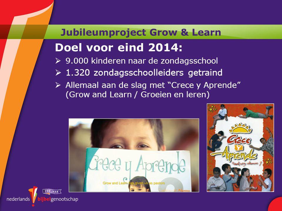 Jubileumproject Grow & Learn Doel voor eind 2014:  9.000 kinderen naar de zondagsschool  1.320 zondagsschoolleiders getraind  Allemaal aan de slag met Crece y Aprende (Grow and Learn / Groeien en leren)