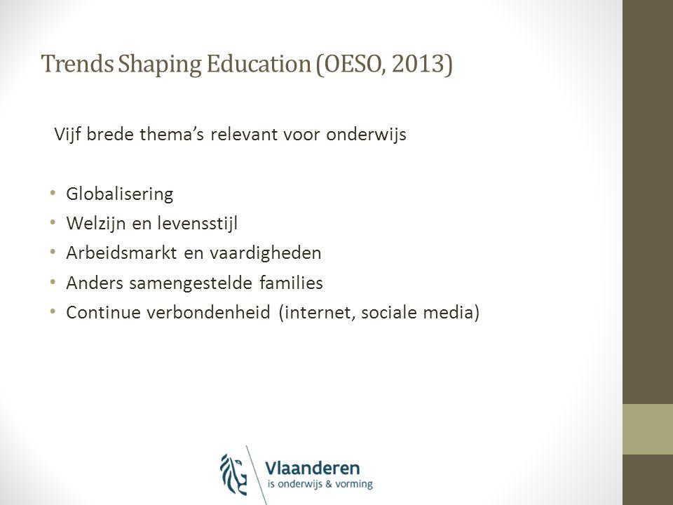 Trends Shaping Education (OESO, 2013) Vijf brede thema's relevant voor onderwijs Globalisering Welzijn en levensstijl Arbeidsmarkt en vaardigheden Anders samengestelde families Continue verbondenheid (internet, sociale media)