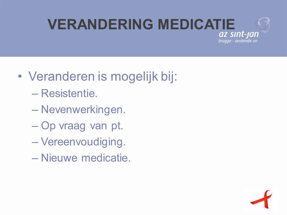 VERANDERING MEDICATIE Veranderen is mogelijk bij: –Resistentie. –Nevenwerkingen. –Op vraag van pt. –Vereenvoudiging. –Nieuwe medicatie.