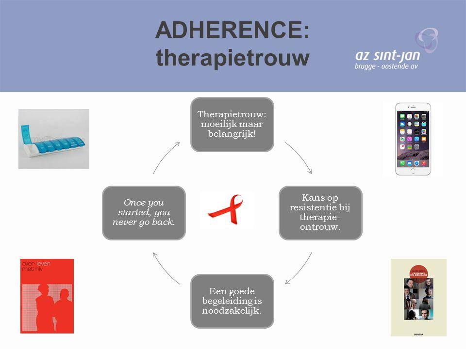 ADHERENCE: therapietrouw Therapietrouw: moeilijk maar belangrijk! Kans op resistentie bij therapie- ontrouw. Een goede begeleiding is noodzakelijk. On