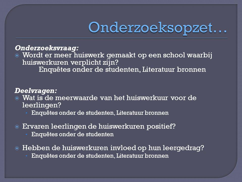 Onderzoeksvraag:  Wordt er meer huiswerk gemaakt op een school waarbij huiswerkuren verplicht zijn? Enquêtes onder de studenten, Literatuur bronnen D