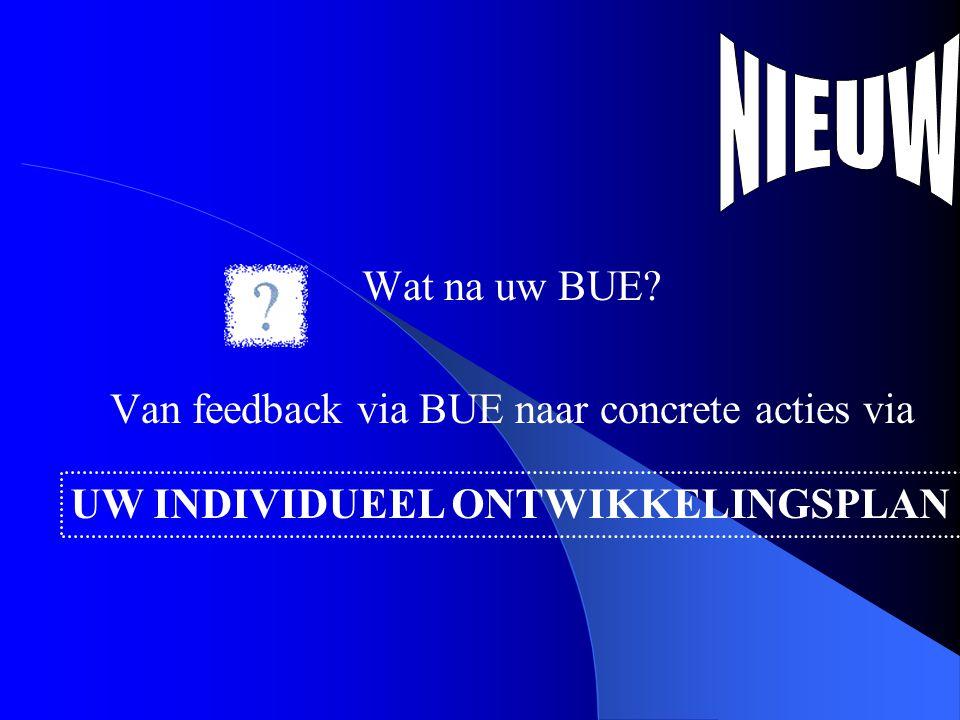 Wat na uw BUE Van feedback via BUE naar concrete acties via UW INDIVIDUEEL ONTWIKKELINGSPLAN