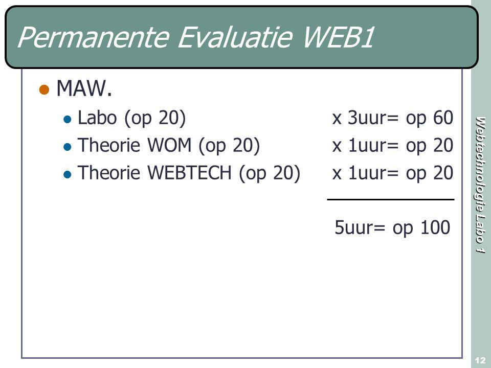 Webtechnologie Labo 1 12 Permanente Evaluatie WEB1 MAW. Labo (op 20) x 3uur= op 60 Theorie WOM (op 20)x 1uur= op 20 Theorie WEBTECH (op 20) x 1uur= op