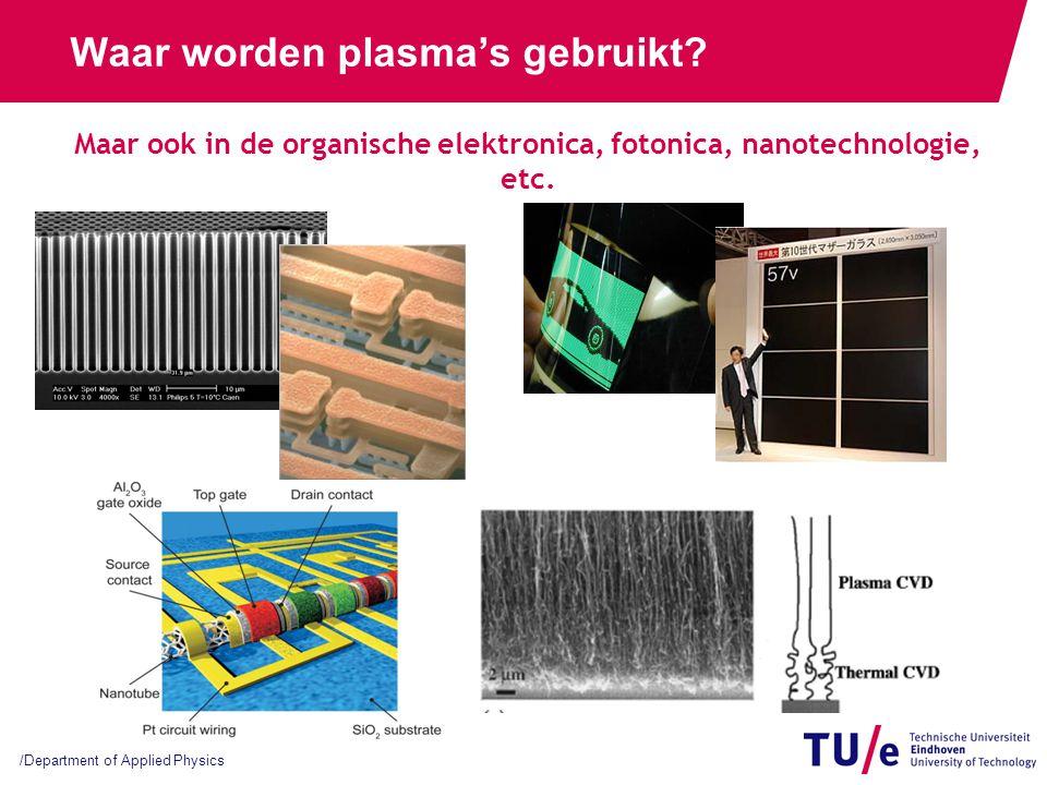 /Department of Applied Physics Waar worden plasma's gebruikt? Maar ook in de organische elektronica, fotonica, nanotechnologie, etc.