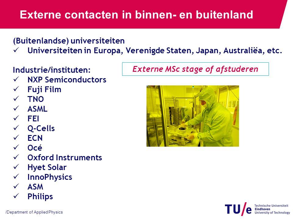 /Department of Applied Physics Externe contacten in binnen- en buitenland (Buitenlandse) universiteiten Universiteiten in Europa, Verenigde Staten, Ja