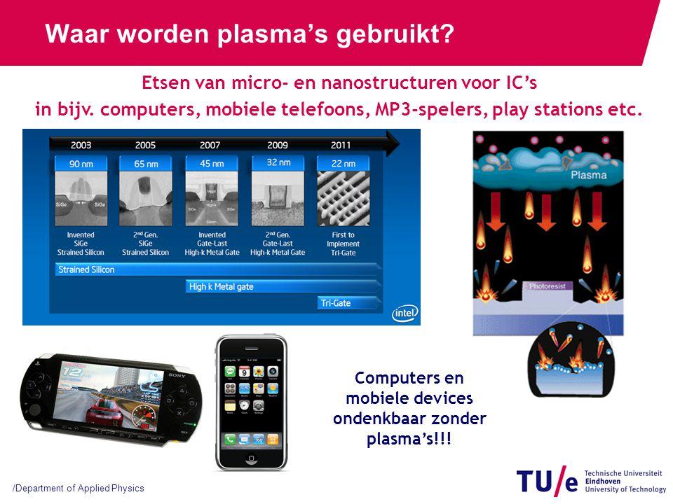 /Department of Applied Physics Waar worden plasma's gebruikt? Computers en mobiele devices ondenkbaar zonder plasma's!!! Etsen van micro- en nanostruc