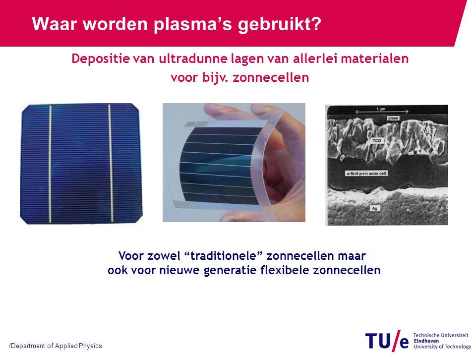 /Department of Applied Physics Waar worden plasma's gebruikt? Depositie van ultradunne lagen van allerlei materialen voor bijv. zonnecellen Voor zowel