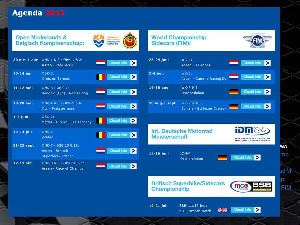 Keppel Sidecar Team 2013 Wedstrijd agenda: Doelstellingen: - Optimaliseer racen; - wennen aan elkaar - wennen aan LCR - Veel race-kilometers - 14 evenementen - 20 wedstrijden - Veel int.