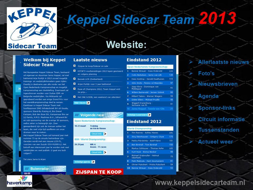 Keppel Sidecar Team 2013 Website: www.keppelsidecarteam.nl  Allerlaatste nieuws NNieuwsbrieven AAgenda FFoto's SSponsor-links CCircuit info