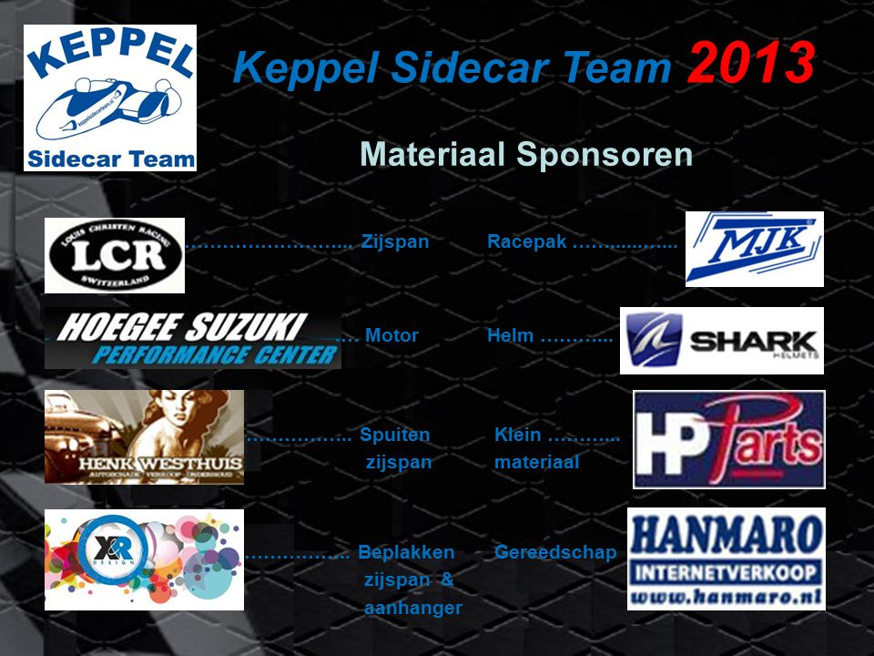 Keppel Sidecar Team 2013 Materiaal Sponsoren ……………………... ZijspanRacepak ……......…....… MotorHelm ………... …………….. Spuiten zijspan Klein ………... materiaal