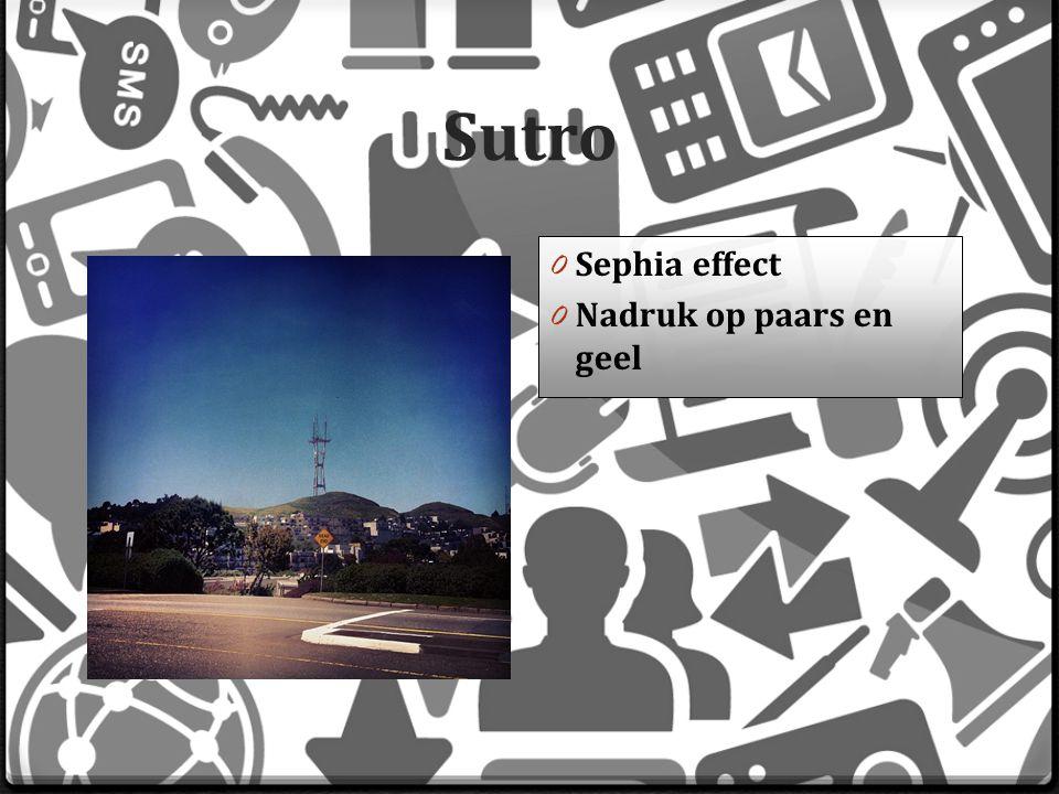 Sutro 0 Sephia effect 0 Nadruk op paars en geel