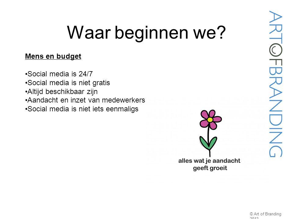 Waar beginnen we? © Art of Branding 2012 Mens en budget Social media is 24/7 Social media is niet gratis Altijd beschikbaar zijn Aandacht en inzet van