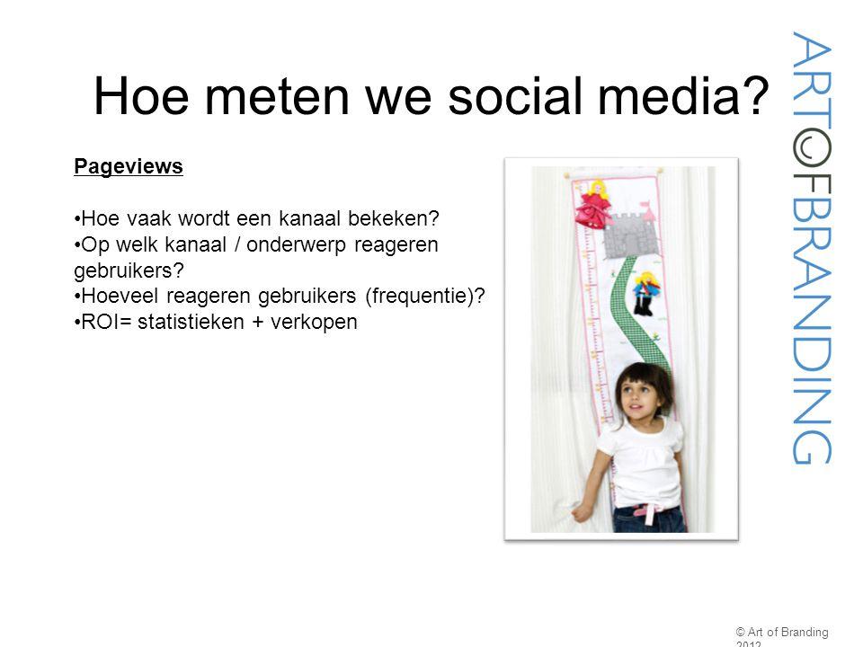 Hoe meten we social media? © Art of Branding 2012 Pageviews Hoe vaak wordt een kanaal bekeken? Op welk kanaal / onderwerp reageren gebruikers? Hoeveel