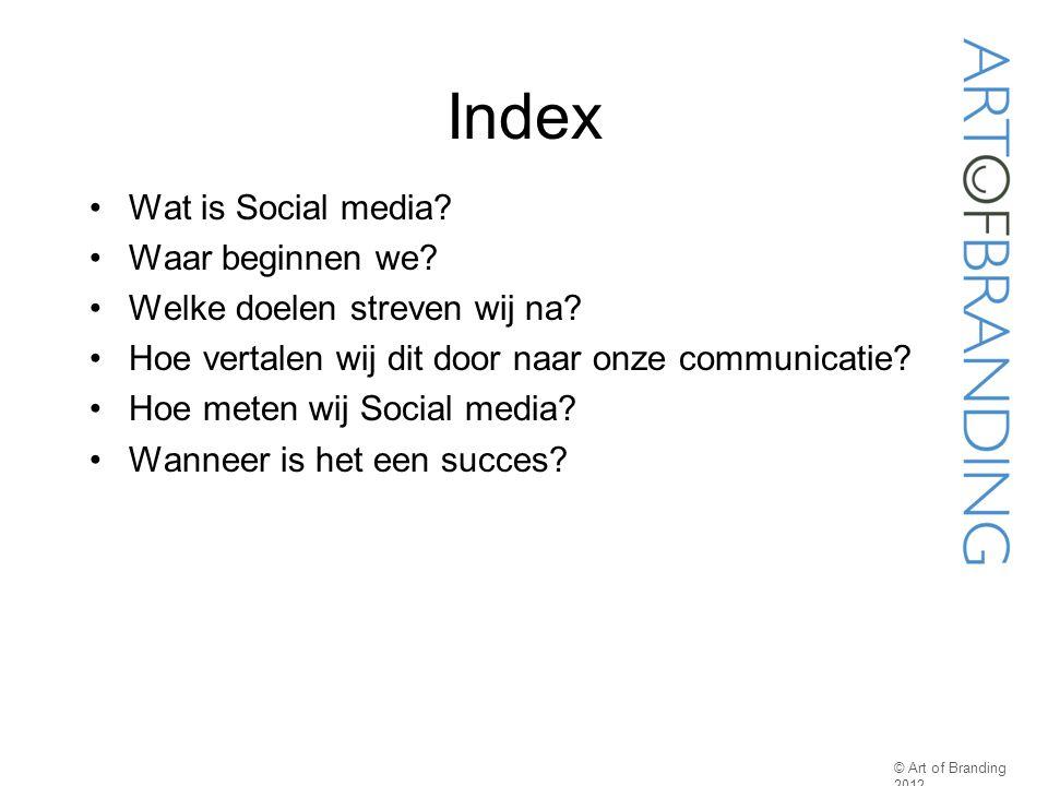 Index Wat is Social media? Waar beginnen we? Welke doelen streven wij na? Hoe vertalen wij dit door naar onze communicatie? Hoe meten wij Social media