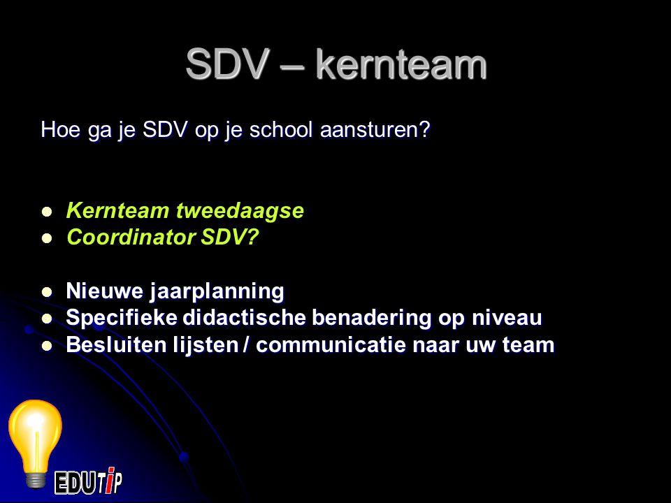SDV – kernteam Hoe ga je SDV op je school aansturen.
