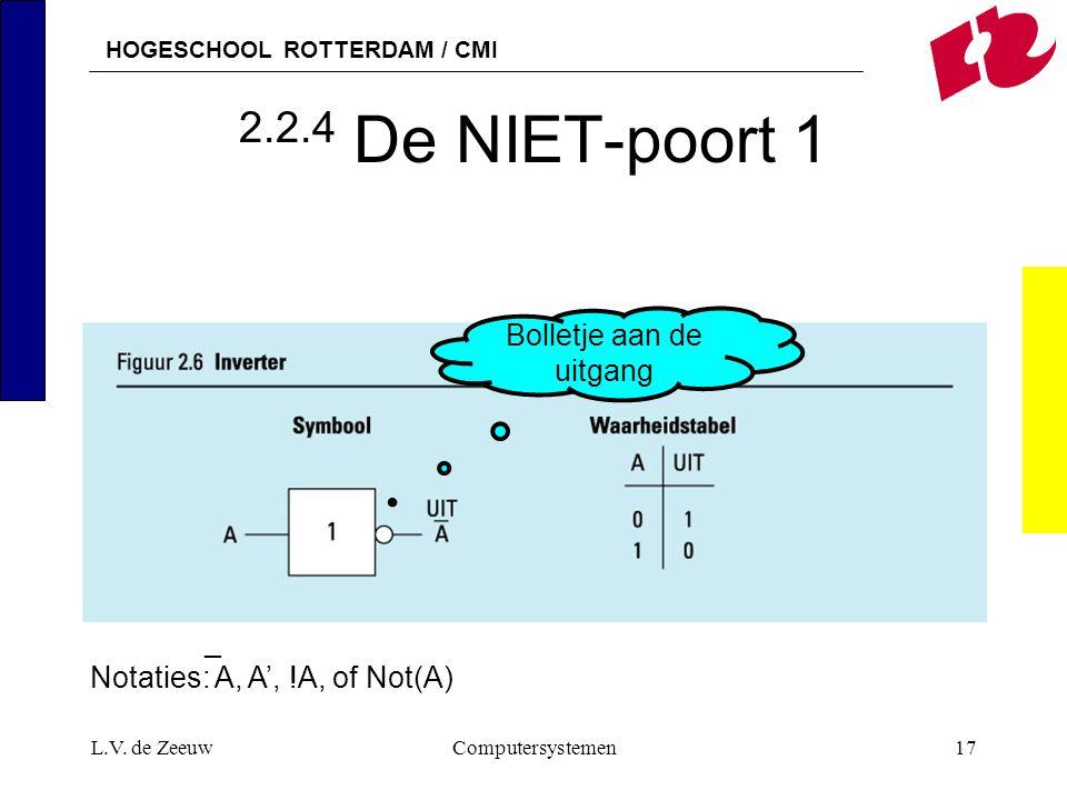 HOGESCHOOL ROTTERDAM / CMI L.V. de ZeeuwComputersystemen17 2.2.4 De NIET-poort 1 _ Notaties: A, A', !A, of Not(A) Bolletje aan de uitgang