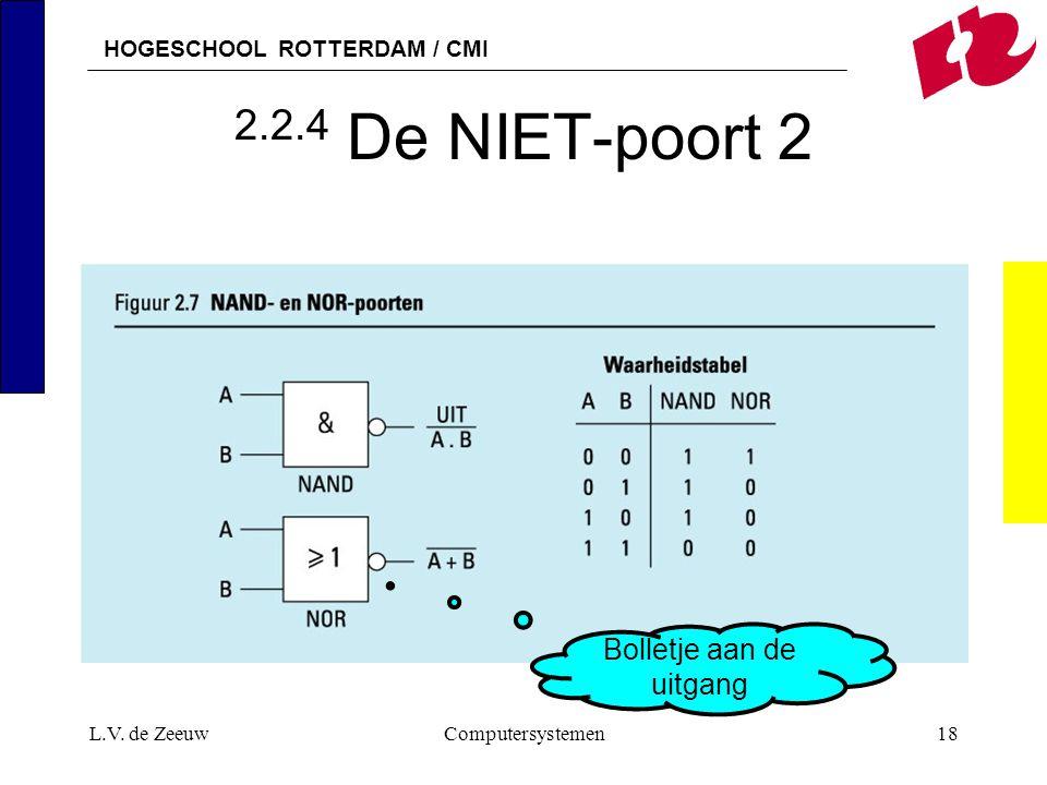 HOGESCHOOL ROTTERDAM / CMI L.V. de ZeeuwComputersystemen18 2.2.4 De NIET-poort 2 Bolletje aan de uitgang