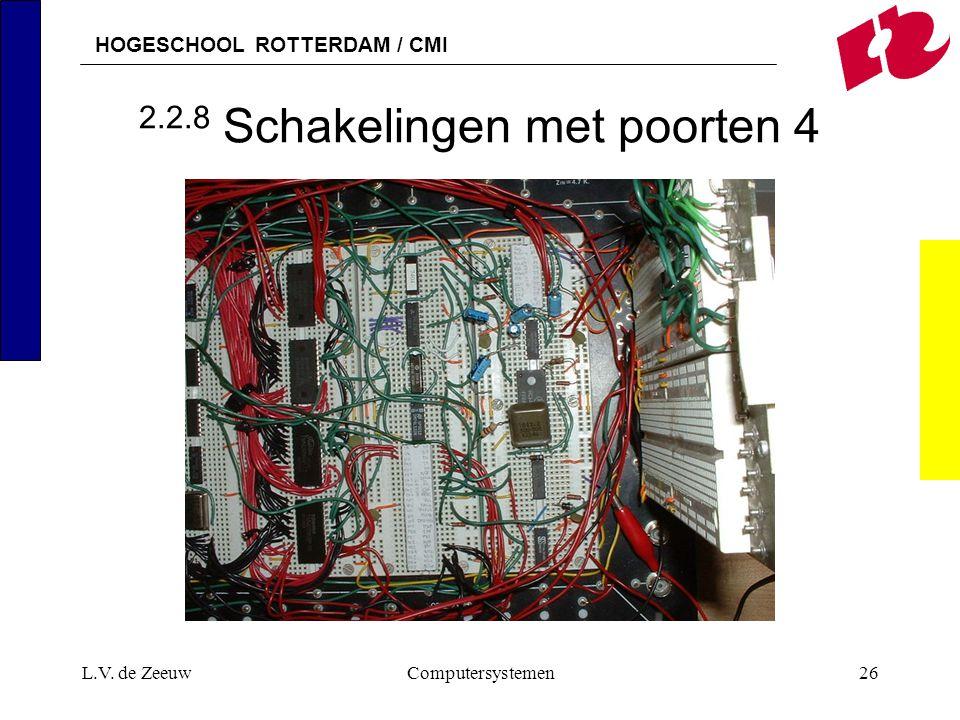 HOGESCHOOL ROTTERDAM / CMI L.V. de ZeeuwComputersystemen26 2.2.8 Schakelingen met poorten 4