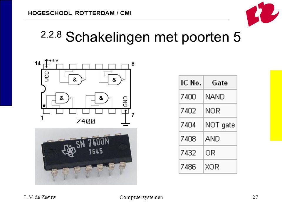 HOGESCHOOL ROTTERDAM / CMI L.V. de ZeeuwComputersystemen27 2.2.8 Schakelingen met poorten 5