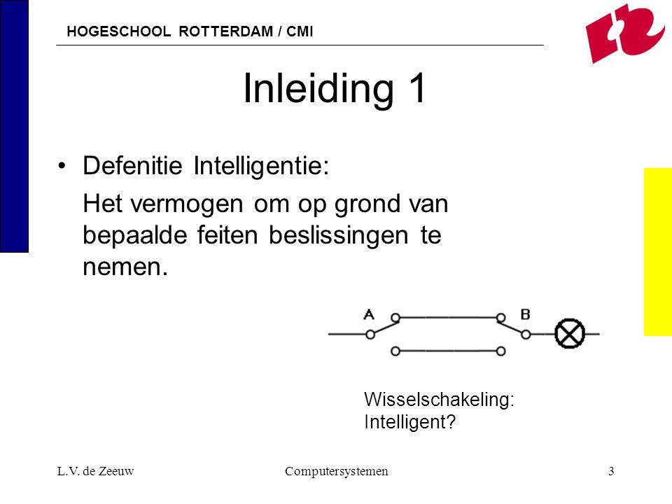 HOGESCHOOL ROTTERDAM / CMI L.V. de ZeeuwComputersystemen3 Inleiding 1 Defenitie Intelligentie: Het vermogen om op grond van bepaalde feiten beslissing
