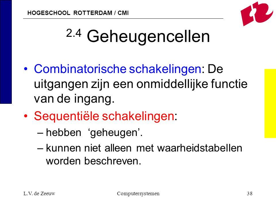 HOGESCHOOL ROTTERDAM / CMI L.V. de ZeeuwComputersystemen38 2.4 Geheugencellen Combinatorische schakelingen: De uitgangen zijn een onmiddellijke functi