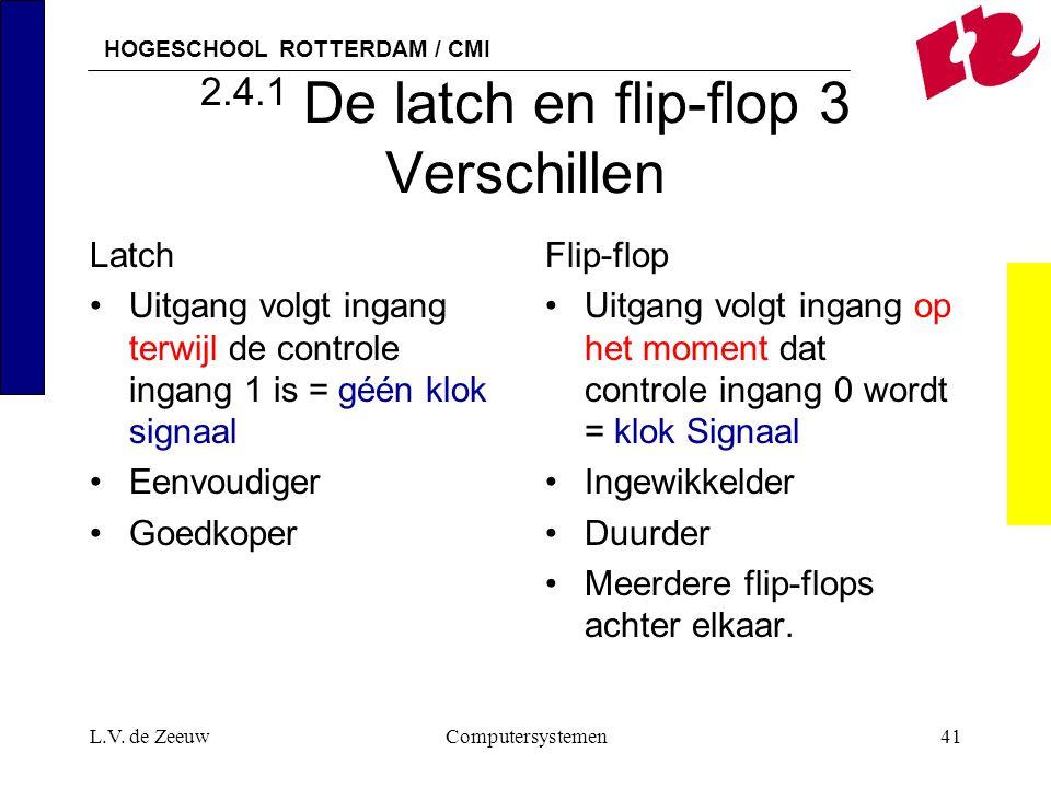 HOGESCHOOL ROTTERDAM / CMI L.V. de ZeeuwComputersystemen41 2.4.1 De latch en flip-flop 3 Verschillen Latch Uitgang volgt ingang terwijl de controle in