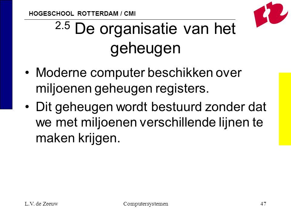 HOGESCHOOL ROTTERDAM / CMI L.V. de ZeeuwComputersystemen47 2.5 De organisatie van het geheugen Moderne computer beschikken over miljoenen geheugen reg