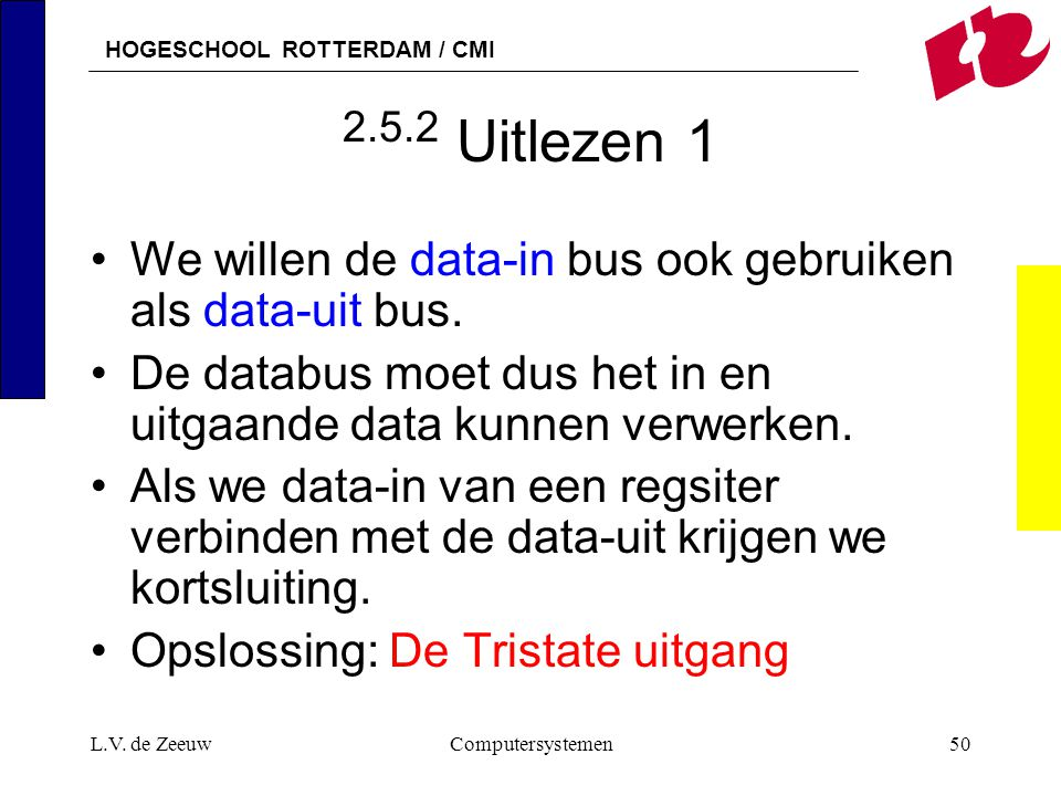 HOGESCHOOL ROTTERDAM / CMI L.V. de ZeeuwComputersystemen50 2.5.2 Uitlezen 1 We willen de data-in bus ook gebruiken als data-uit bus. De databus moet d