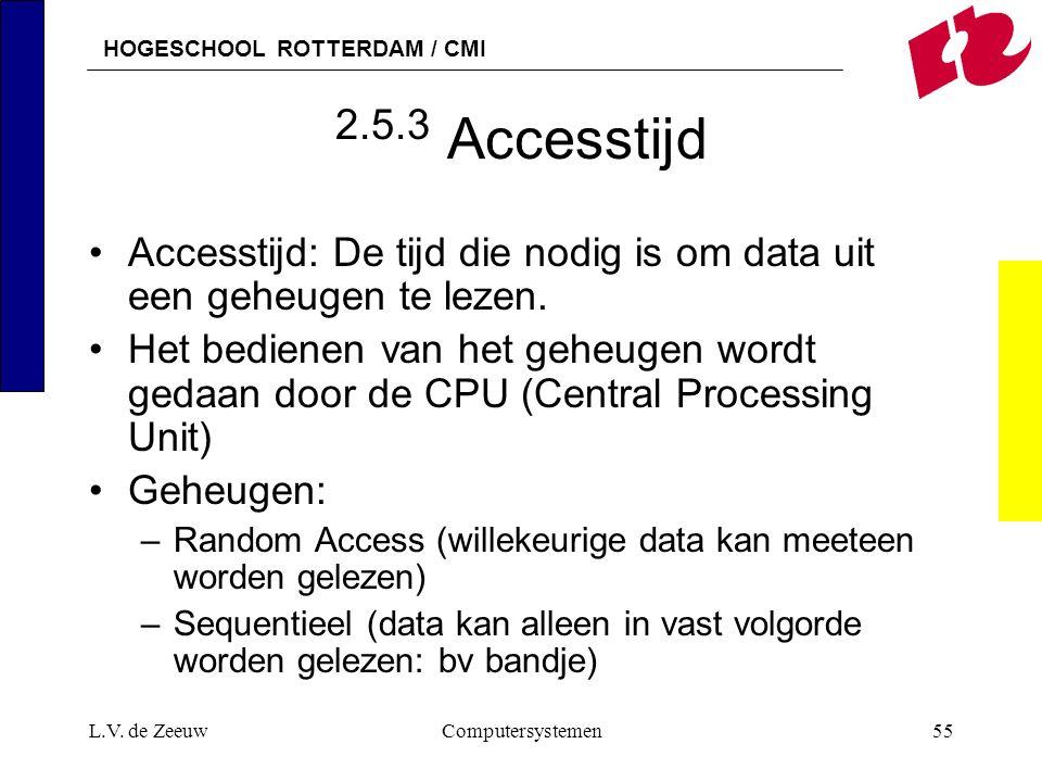 HOGESCHOOL ROTTERDAM / CMI L.V. de ZeeuwComputersystemen55 2.5.3 Accesstijd Accesstijd: De tijd die nodig is om data uit een geheugen te lezen. Het be