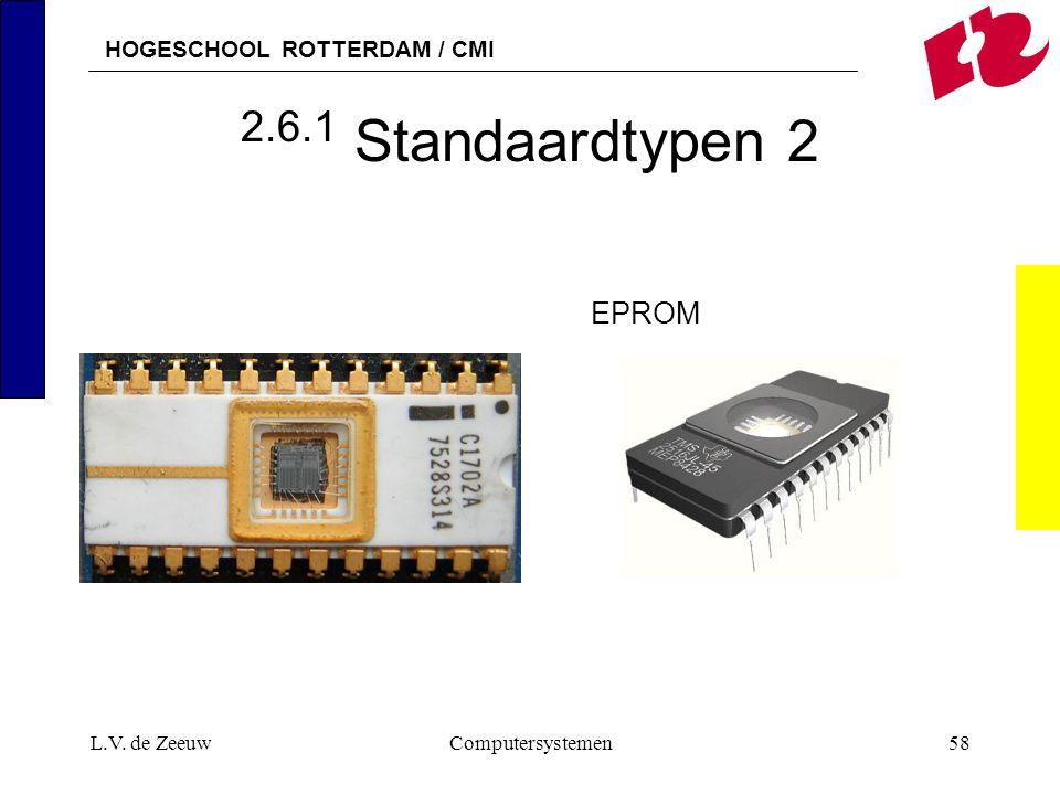 HOGESCHOOL ROTTERDAM / CMI L.V. de ZeeuwComputersystemen58 2.6.1 Standaardtypen 2 EPROM