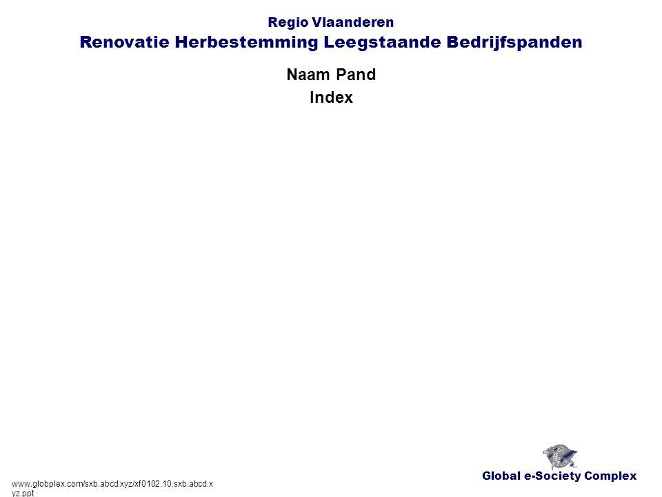 Global e-Society Complex Regio Vlaanderen Renovatie Herbestemming Leegstaande Bedrijfspanden Naam Pand www.globplex.com/sxb.abcd.xyz/xf0102.10.sxb.abcd.x yz.ppt Globplex-Systeem en Documenten