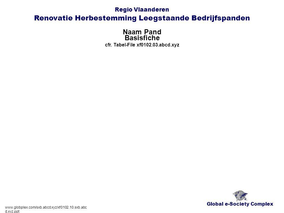 Global e-Society Complex Regio Vlaanderen Renovatie Herbestemming Leegstaande Bedrijfspanden Naam Pand www.globplex.com/sxb.abcd.xyz/xf0102.10.sxb.abc d.xyz.ppt Basisfiche cfr.