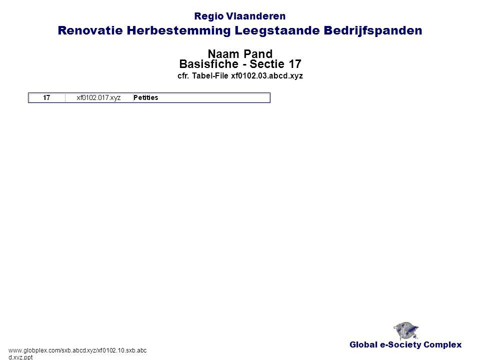 Global e-Society Complex Regio Vlaanderen Renovatie Herbestemming Leegstaande Bedrijfspanden Naam Pand www.globplex.com/sxb.abcd.xyz/xf0102.10.sxb.abc d.xyz.ppt Basisfiche - Sectie 17 cfr.