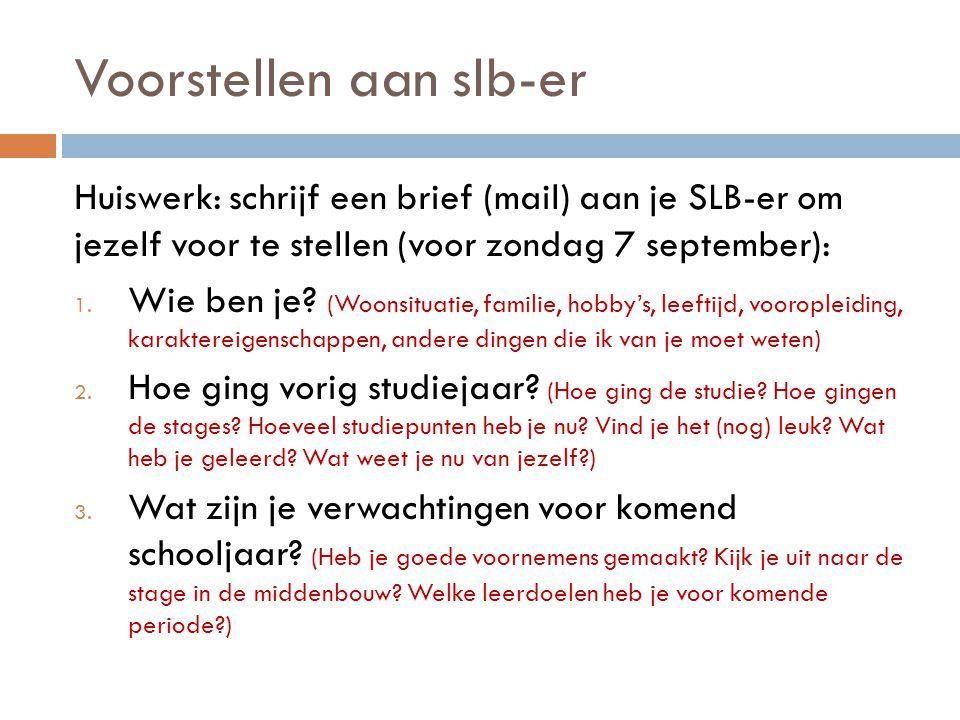 Voorstellen aan slb-er Huiswerk: schrijf een brief (mail) aan je SLB-er om jezelf voor te stellen (voor zondag 7 september): 1. Wie ben je? (Woonsitua