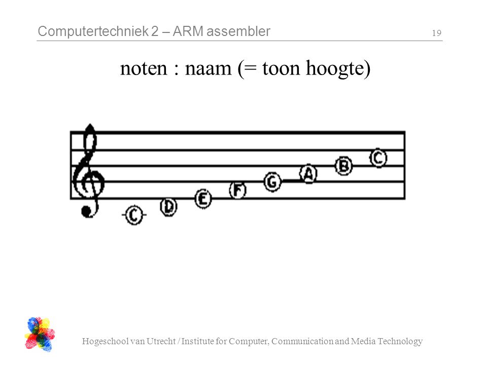 Computertechniek 2 – ARM assembler Hogeschool van Utrecht / Institute for Computer, Communication and Media Technology 19 noten : naam (= toon hoogte)