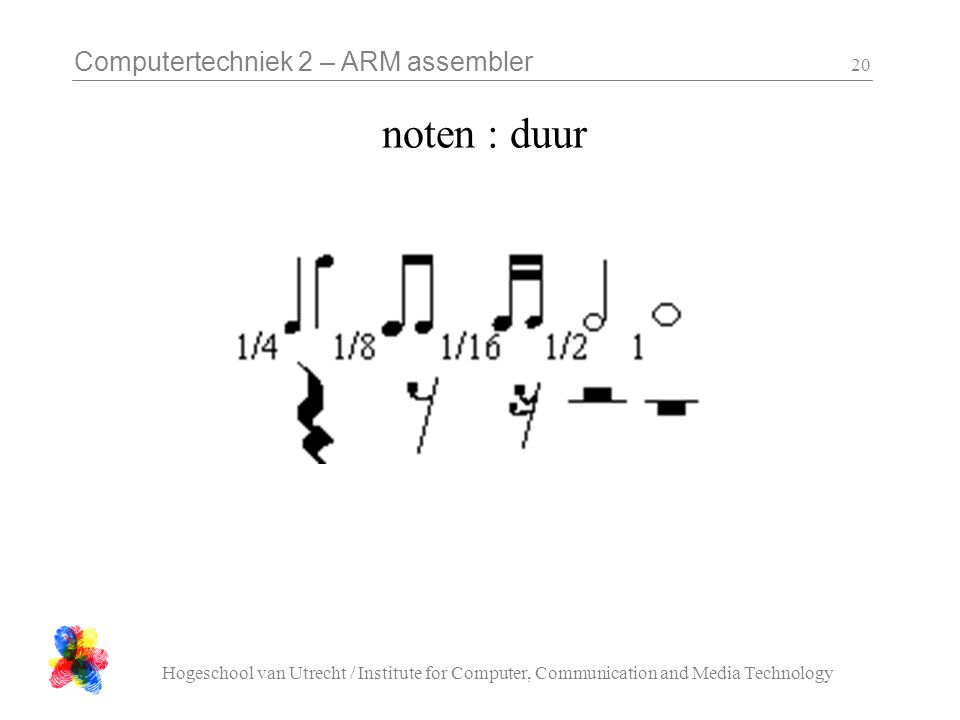 Computertechniek 2 – ARM assembler Hogeschool van Utrecht / Institute for Computer, Communication and Media Technology 20 noten : duur