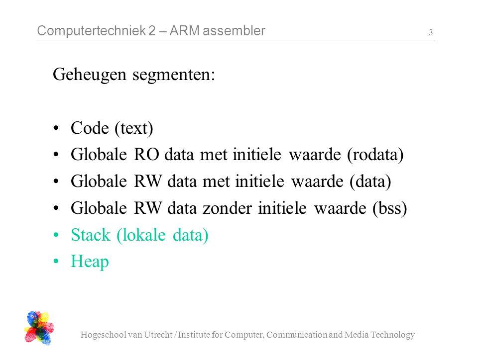 Computertechniek 2 – ARM assembler Hogeschool van Utrecht / Institute for Computer, Communication and Media Technology 14 UART Library (C) UART_struct *U0_base, *U1_base; void ARK_UART_init( UART_struct *UART, unsigned int baudrate ) void ARK_UART_char_write( UART_struct *UART, char chr ) void ARK_UART_string_write( UART_struct *UART, char *s ) char ARK_UART_char_read( UART_struct *UART ) unsigned char ARK_UART_char_can_be_written( UART_struct *UART ) unsigned char ARK_UART_char_available( UART_struct *UART )