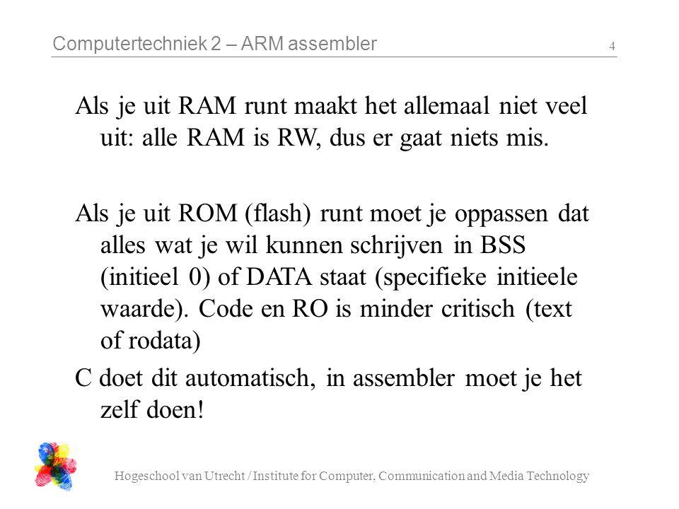 Computertechniek 2 – ARM assembler Hogeschool van Utrecht / Institute for Computer, Communication and Media Technology 5 Assembler sectie macro's in ark.h:  code moet in.text  geinitialiseerde schrijfbare data moet in.data  ongeinitialiseerde data hoort in.bss CODE.text.arm.align DATA.data.align BSS.bss.align